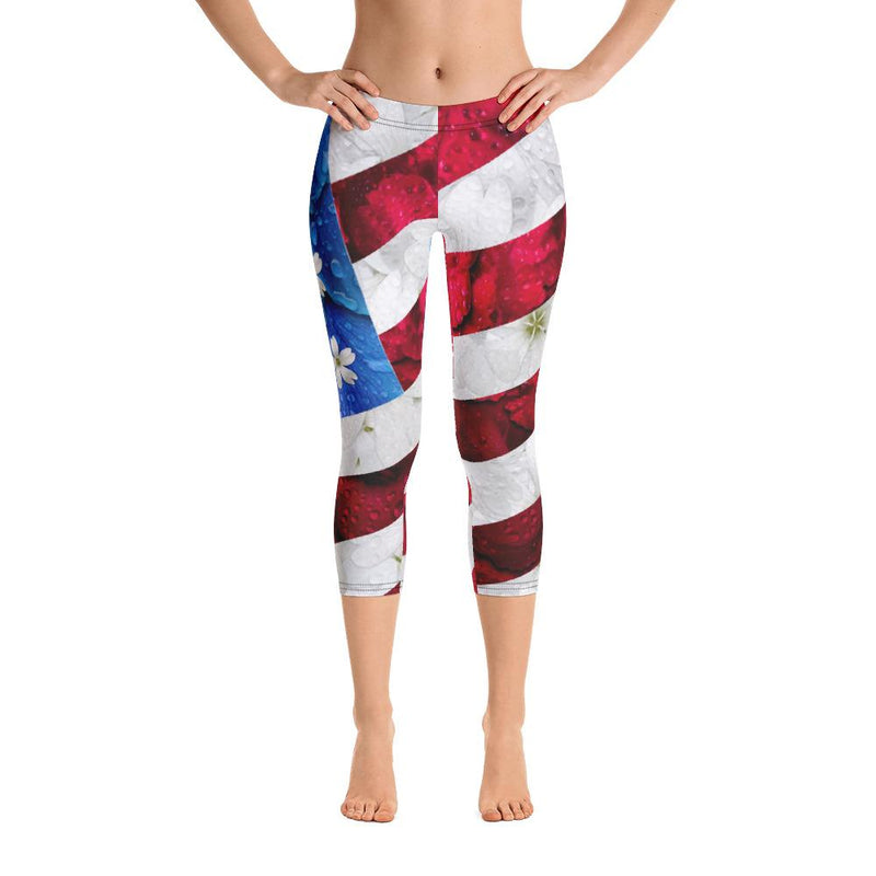 Floral USA Flag Capri Leggings
