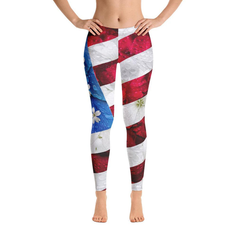 Floral USA Flag Leggings
