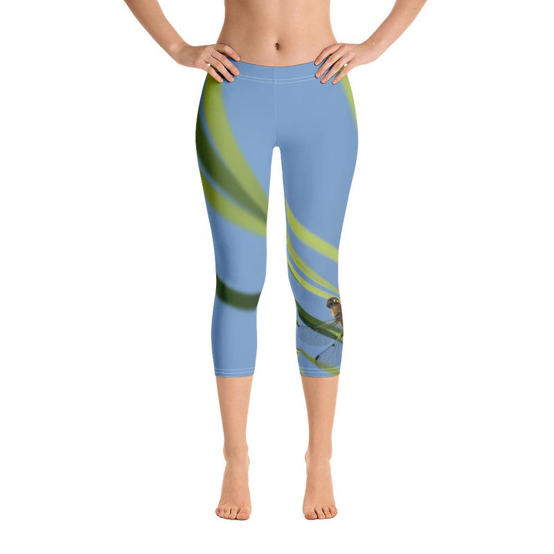 Four-Spotted Skimmer Dragonfly Capri Leggings