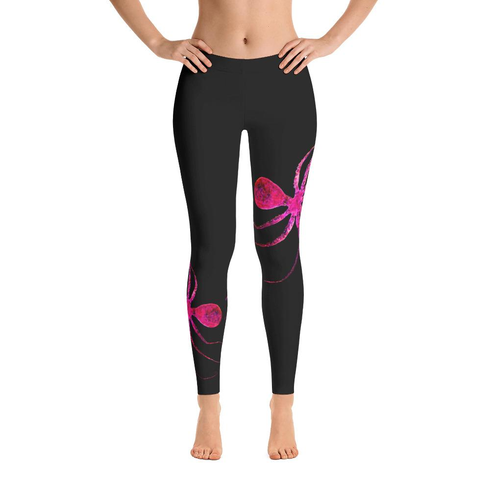 Hot Pink Octopus Gyotaku Leggings - 57 Peaks