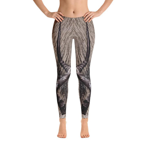 Grey Crowned Crane Capri Leggings