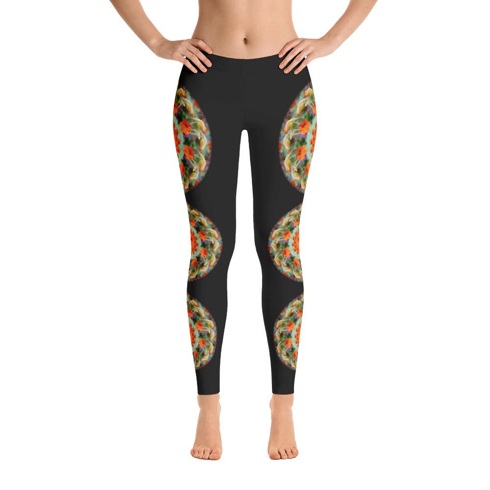 Red Nasturtium Mandala Leggings - 57 Peaks