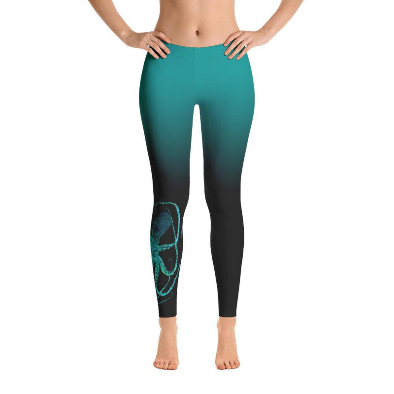 Teal Octopus 2 Gyotaku Leggings - 57 Peaks