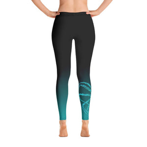 Teal Octopus 3 Gyotaku Leggings - 57 Peaks