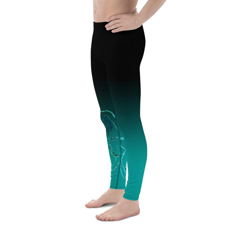Men's Teal Octopus 3 Gyotaku Leggings