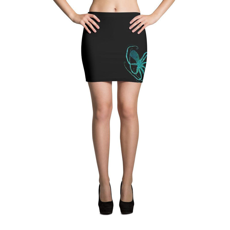 Teal Octopus Gyotaku Mini Skirt - 57 Peaks