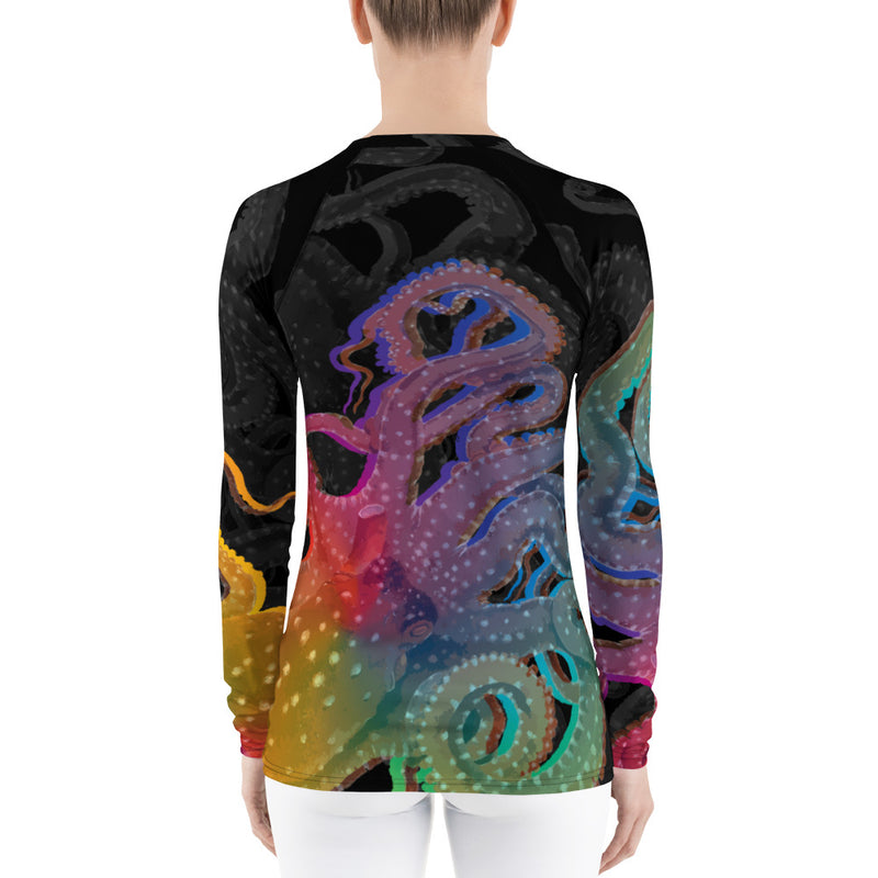 Octopus Rainbow Women's Rash Guard
