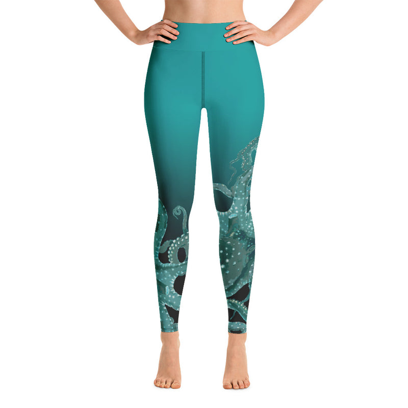 Teal Octopus Yoga Leggings
