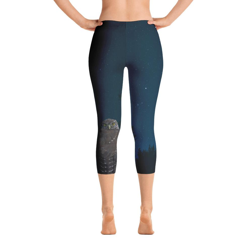 Northern Pygmy Owl Capri Leggings - 57 Peaks