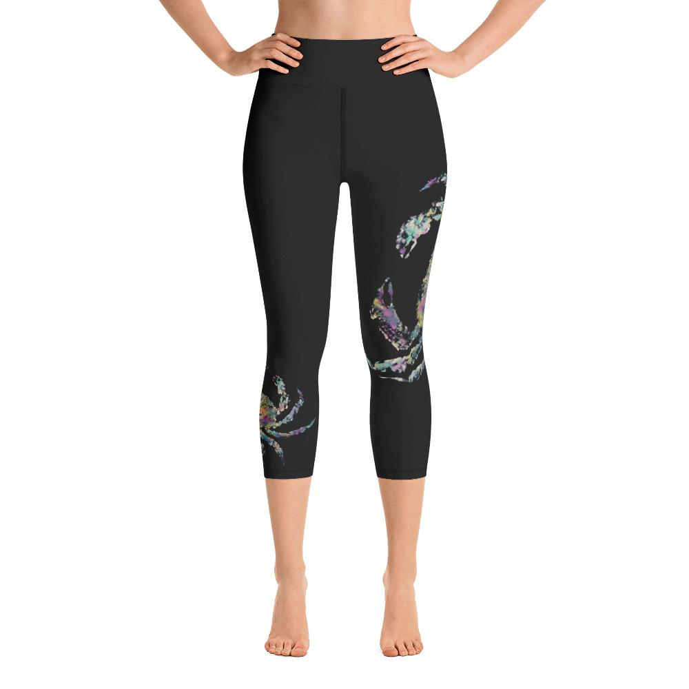 Rainbow Crab 2 Gyotaku Yoga Capri Leggings