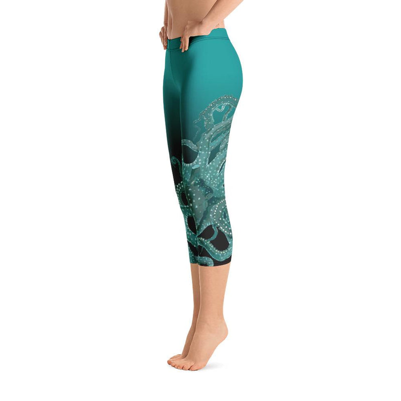 Teal Octopus Capri Leggings