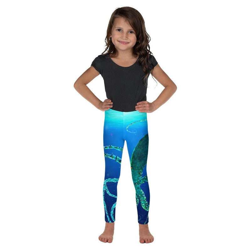 Teal Octopus Gyotaku Kids' Leggings