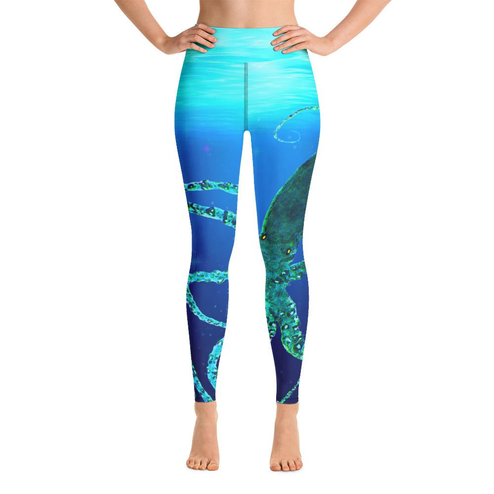 Teal Octopus Gyotaku Yoga Leggings