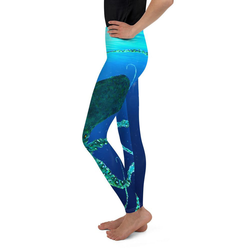 Teal Octopus Gyotaku Youth Leggings