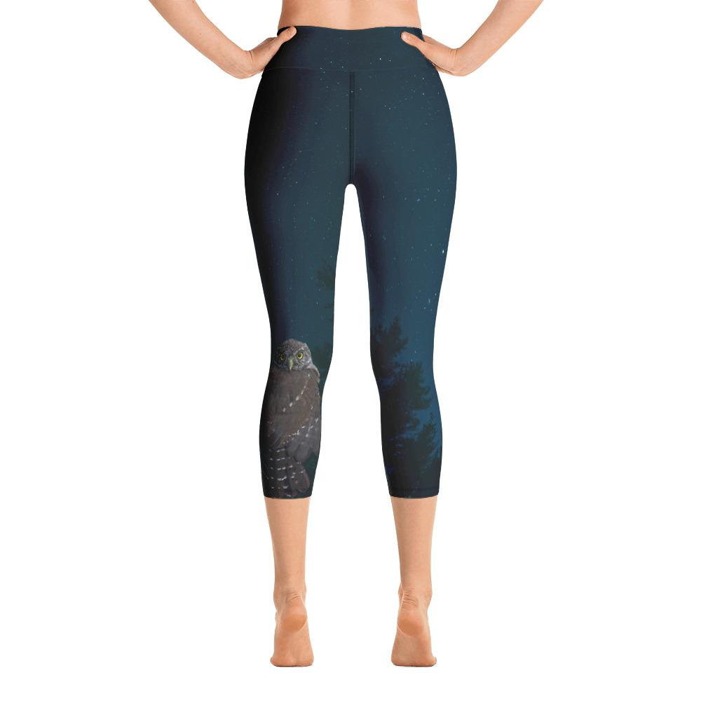 Northern Pygmy Owl Yoga Capri Leggings - 57 Peaks