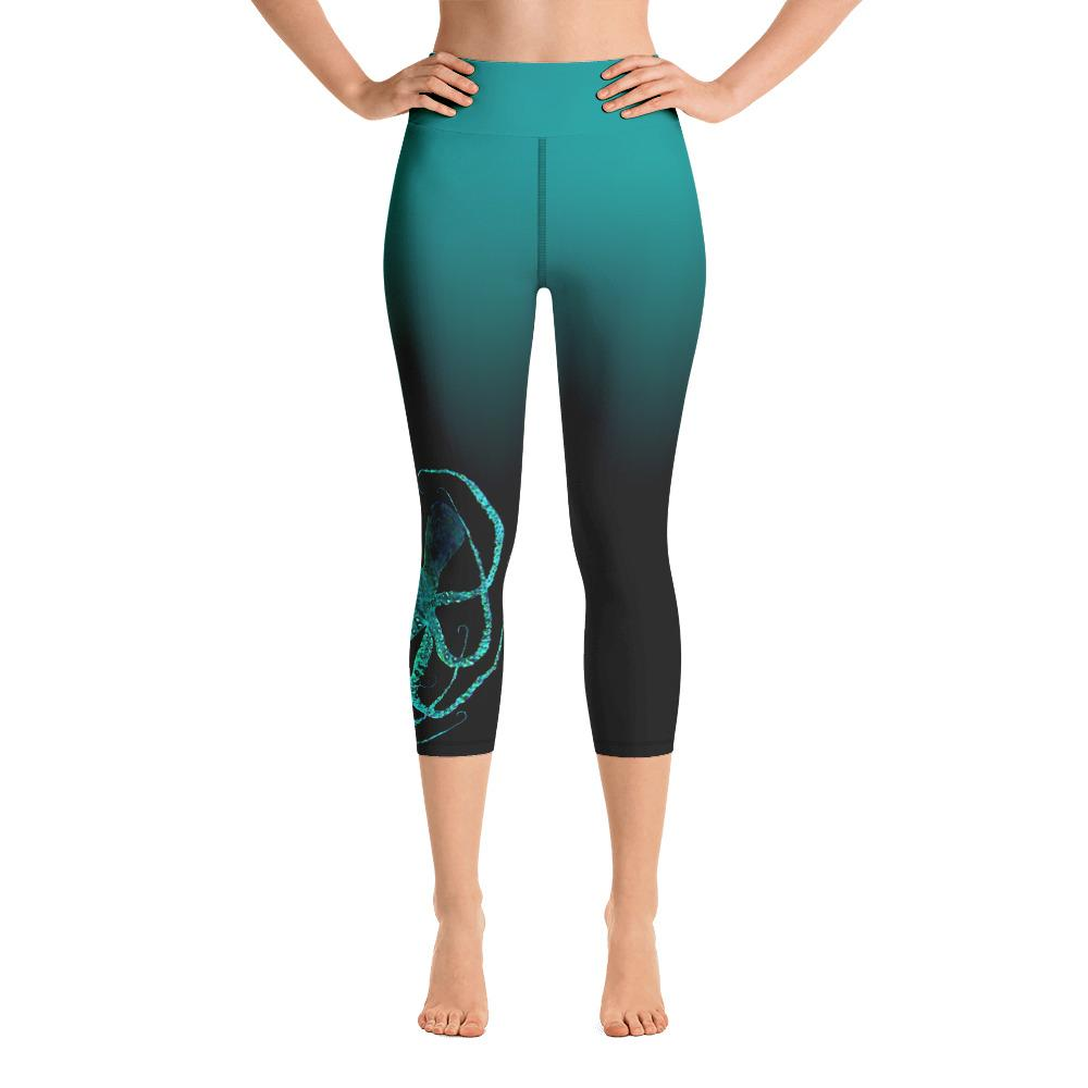 Teal Octopus 2 Gyotaku Yoga Capri Leggings - 57 Peaks