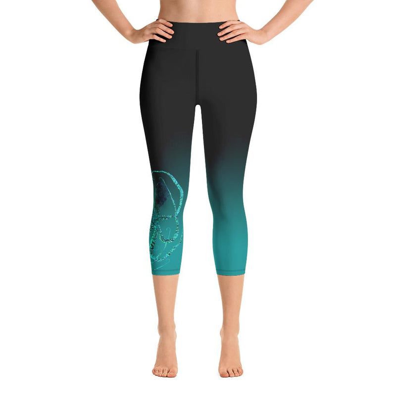 Teal Octopus 3 Gyotaku Yoga Capri Leggings
