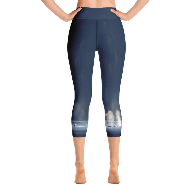 Whales in Silver Bay Yoga Capri Leggings - 57 Peaks