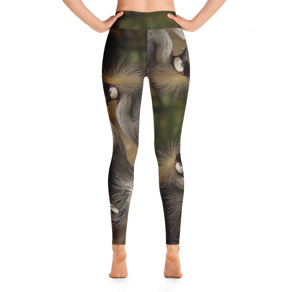 Grey Crowned Crane Yoga Leggings