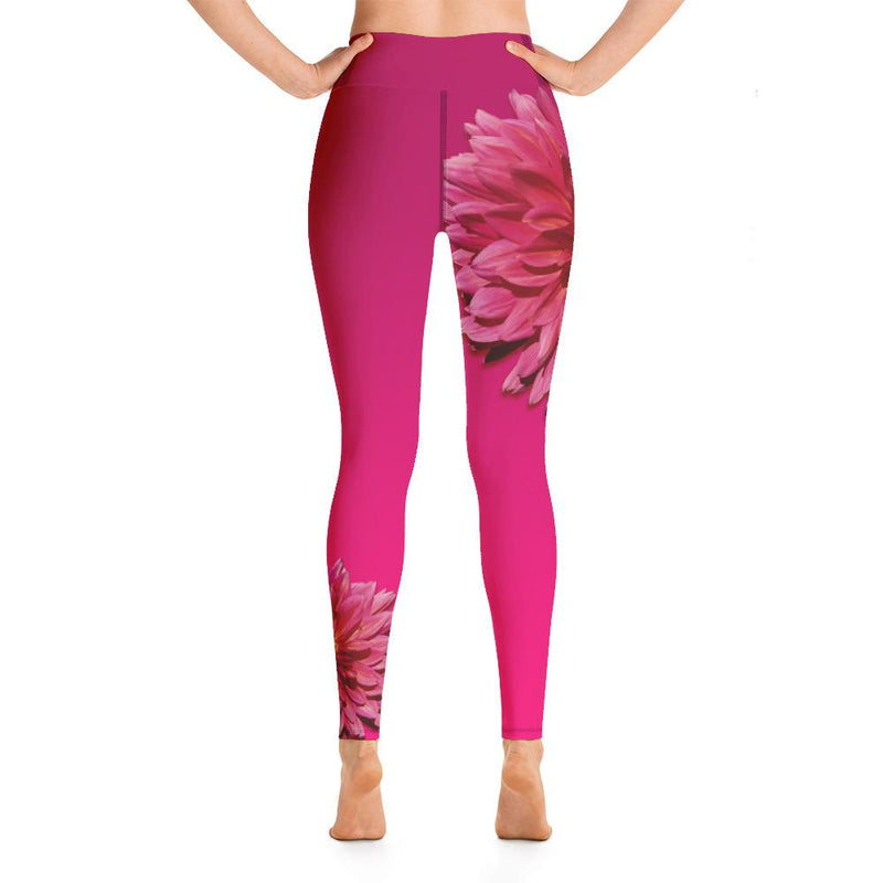 Hot Pink Dahlia Yoga Leggings