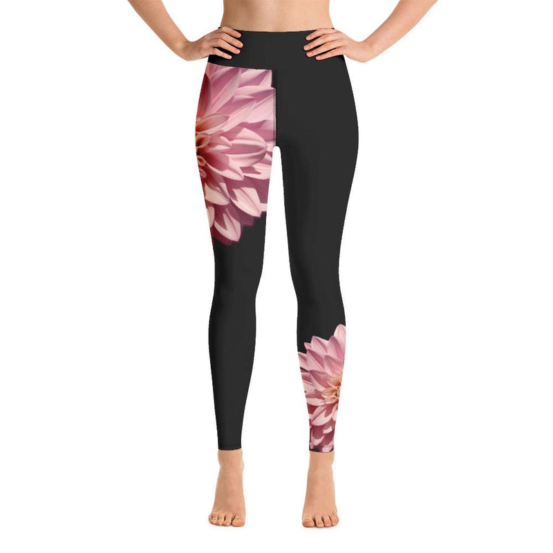 Pink Dahlia Yoga Leggings