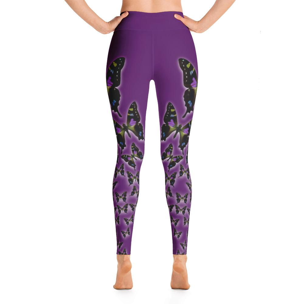 Purple Spotted Swallowtail Yoga Leggings - 57 Peaks