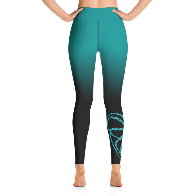 Teal Octopus 2 Gyotaku Yoga Leggings - 57 Peaks