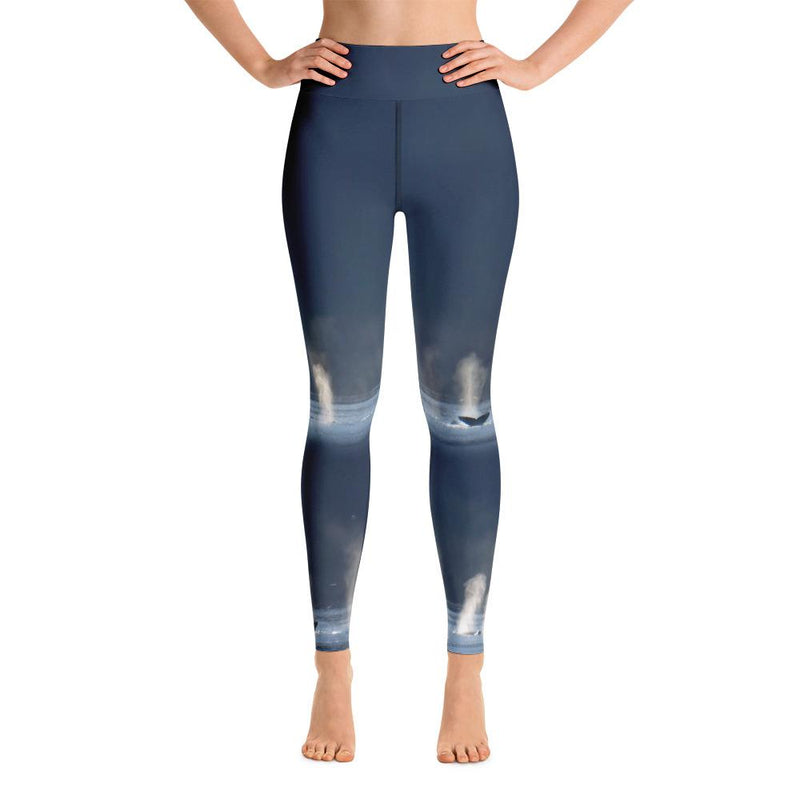 Whales in Silver Bay Yoga Leggings - 57 Peaks