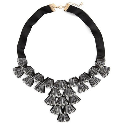 TOPSHOP Women's Crystal Fan Collar Necklace