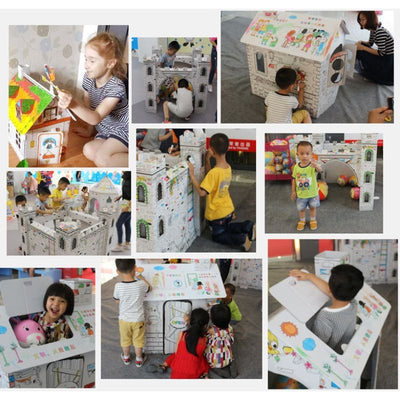 Kids Art and Craft for Indoor & Outdoor Fun, Color, Draw, Doodle on this Blank Canvas - color your own playhouse, cardboard Creative House 3+