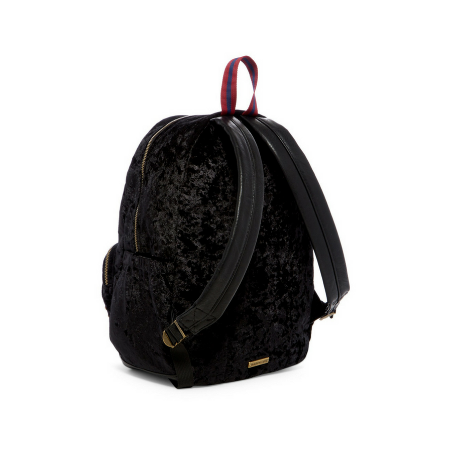 Madden Girl – Crushed Black Velvet Backpack with Studs