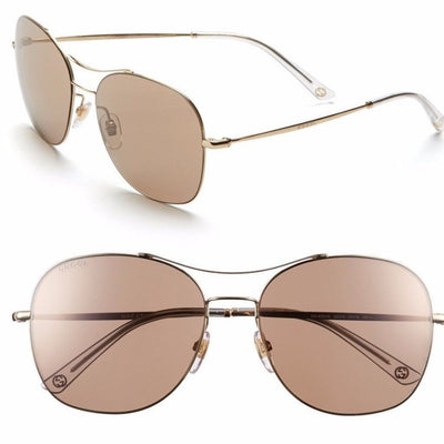 GG4253S 58mm Navigator Stainless Steel Sunglasses, Gucci- Deluge Sales