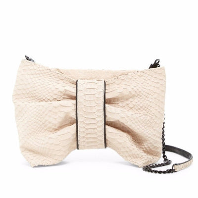 Dapey Bow Snake Embossed Nubuck Clutch Bag, Alice + Olivia- Deluge Sales