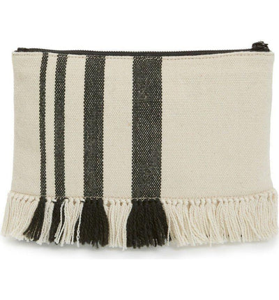 Tassel Pouch Striped Canvas Clutch, Loeffler Randall- Deluge Sales