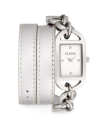 Riviera Beach Stainless Steel Double Wrap Silver Leather Strap, Versus by Versace- Deluge Sales