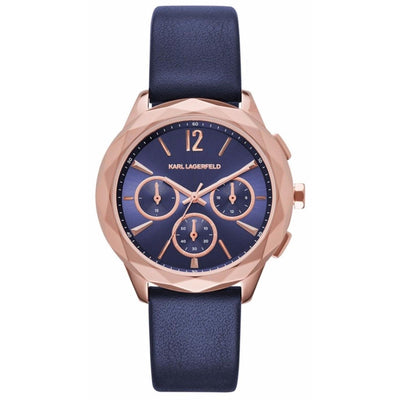 KL4010 Chronograph Navy Leather Strap Unisex Watch, Karl Lagerfeld- Deluge Sales