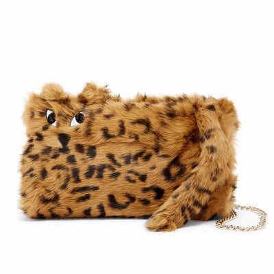 Genuine Rabbit Fur Tiger Muff Shoulder Bag brown black, Alice + Olivia- Deluge Sales