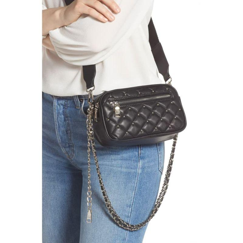 Steve Madden Black Studded Faux Leather Belt Bag - Deluge Sales