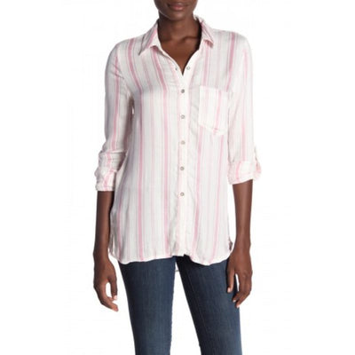 Love, Fire Women's Pink Stripe Printed Perfect Shirt Size XL - Deluge Sales