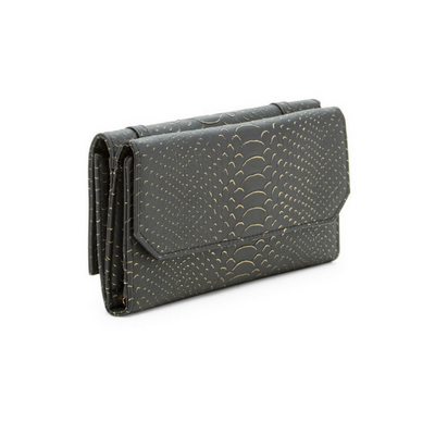 Grey or Black Michelle Embossed Vegan Leather Wallet, Urban Expressions- Deluge Sales