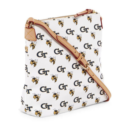 Georgia Tech Leather Crossbody White or Navy, Dooney & Bourke- Deluge Sales
