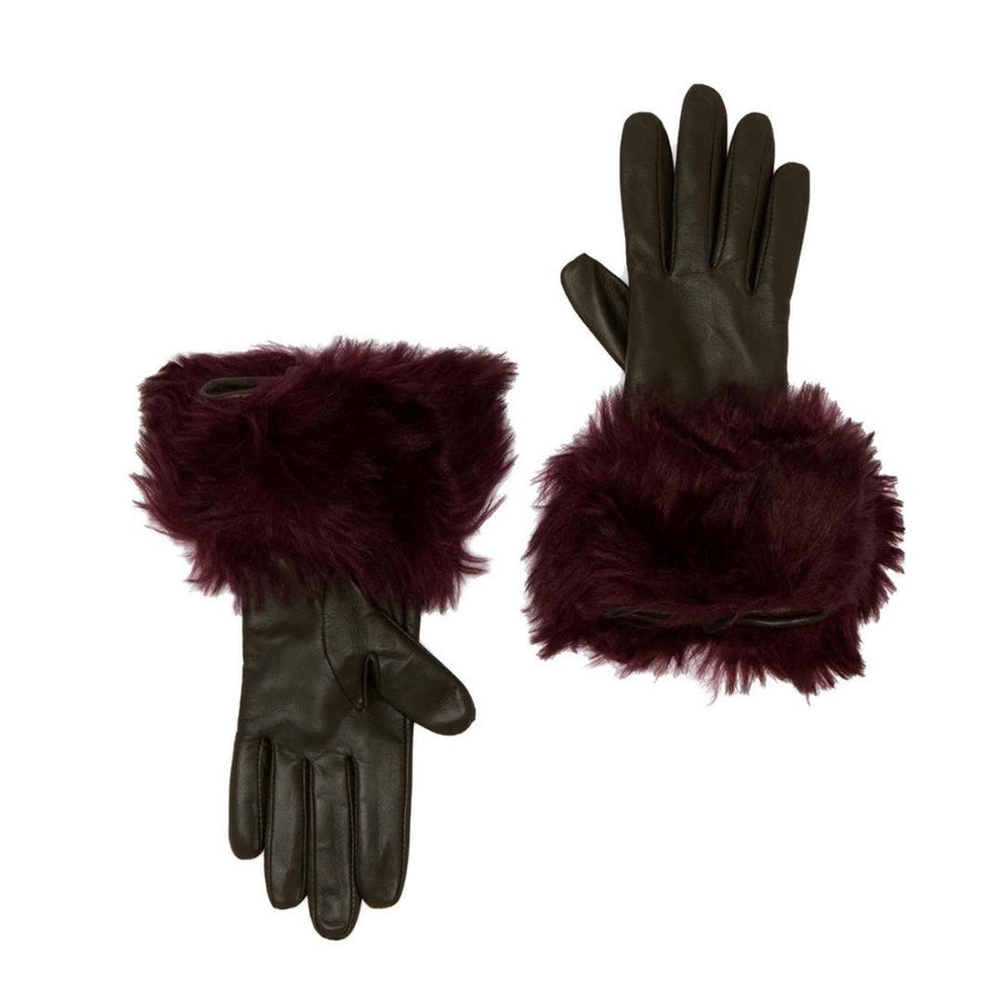 Ted Baker London Women's Khaki Faux Fur Trim Leather Gloves