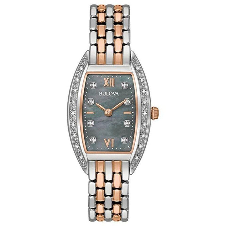 Bulova 98R232 Black Mother of Pearl Dial 26 Diamonds Two Tone Women's Watch