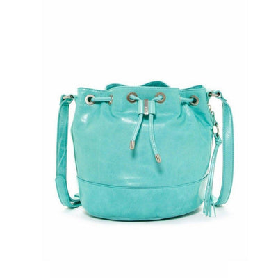 Tulia Leather Drawstring Bucket Bag Purse, Aqua, Hobo International- Deluge Sales