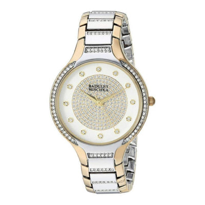 Badgley Mischka Two Tone Swarovski Crystal Watch 1375