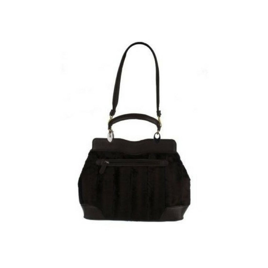 Park Avenue Faux Fur Women's Satchel w/ Patent Trim By VT Luxe - Deluge Sales