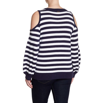 MICHAEL Michael Kors Women's Stripe Cold Shoulder Sweater (Plus  Size) | Deluge Sales