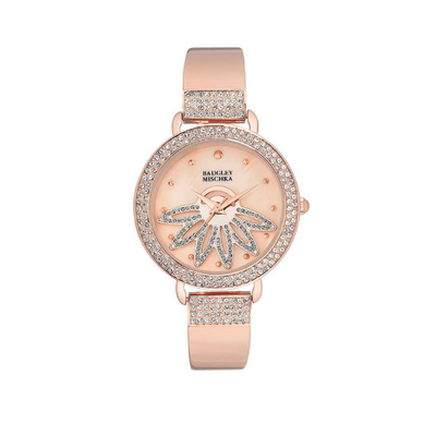 Badgley Mischka Ladies Watch Rose Gold Tone Flower