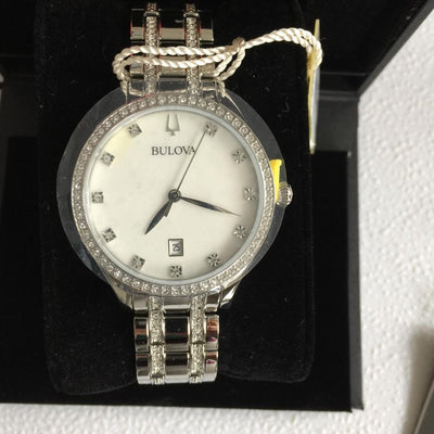 Bulova 96M144 White MOP Dial Silver Tone Women's Dress Watch with Crystals