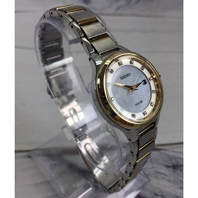 Seiko Two Tone Stainless Steel Solar Watch with Diamond Markers - Deluge Sales